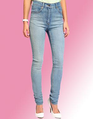 Женские джинсы голубые зауженные