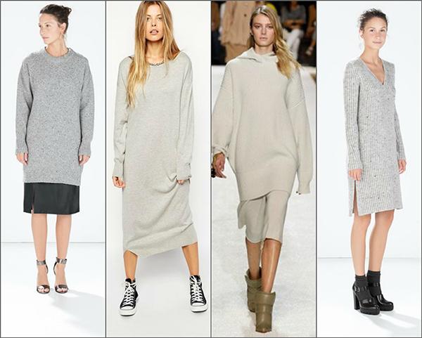 С чем носить к платье свитер